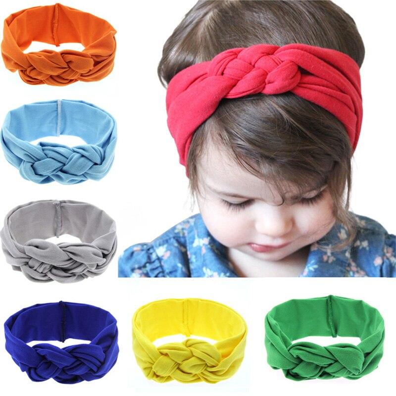 1 ST 2018 Kinderen Hoofddeksels Konijn Oor Baby Hoofdband Mode Elastische Meisje Haarelastiekjes Knoop Haarbanden Kinderen Haaraccessoires KT003