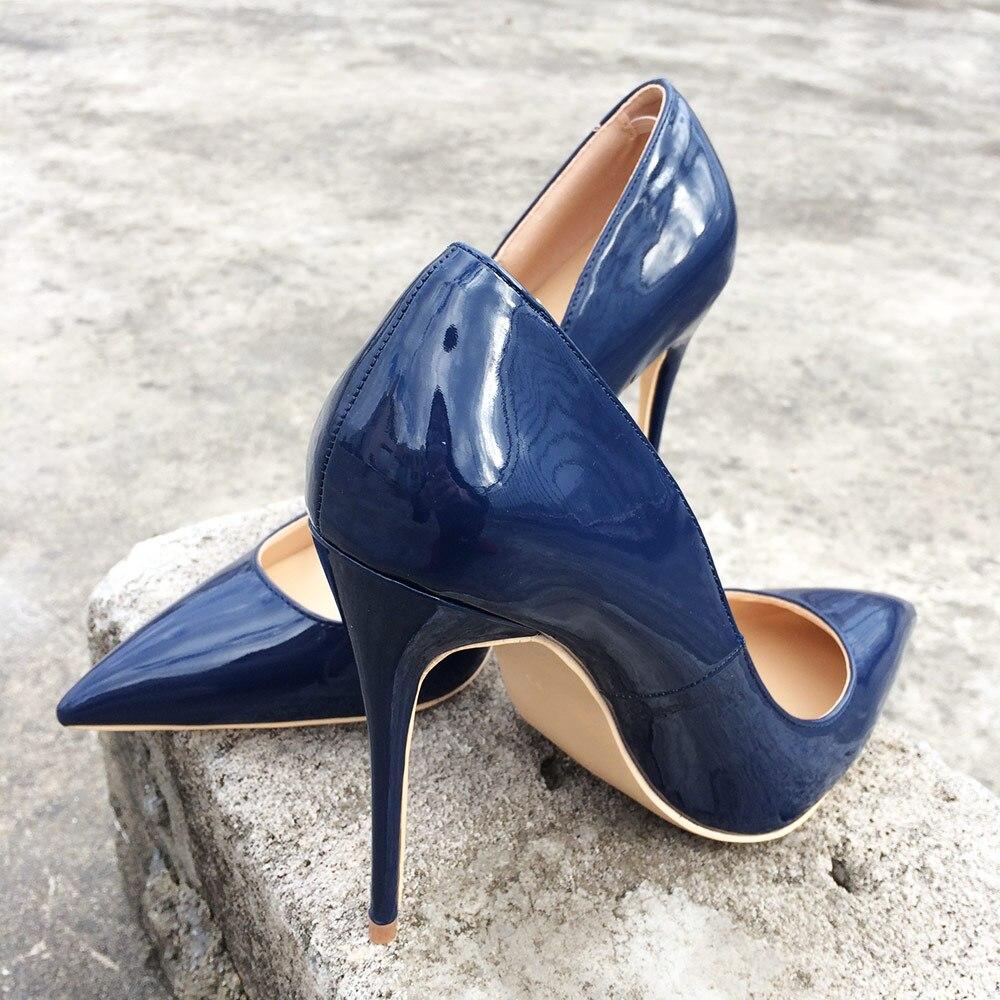 8cm 10cm Style Solide Dames 12cm Hauts Pointu Heels Italien Veowalk Femmes Bout Chaussures Bleu Pompes Cuir Talons Heels Heels Marine Stilettos En Couleur Brillant Verni 1pgq5n