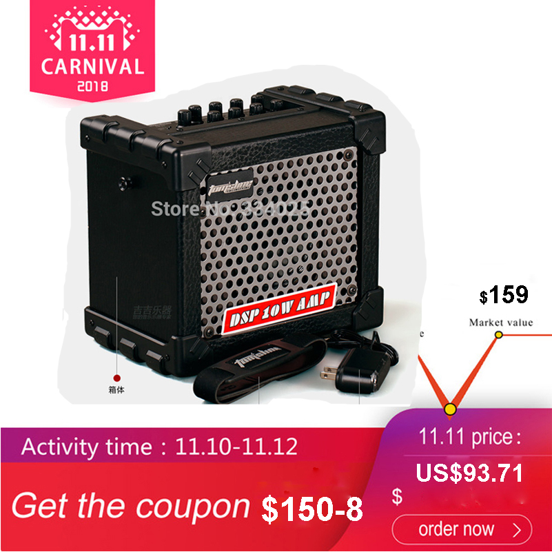 Aroma TM 05 10W Electric Guitar Amp Amplifier Speaker Built in Tuner Tap Function Effect Volume Tone Control with Power Adapte
