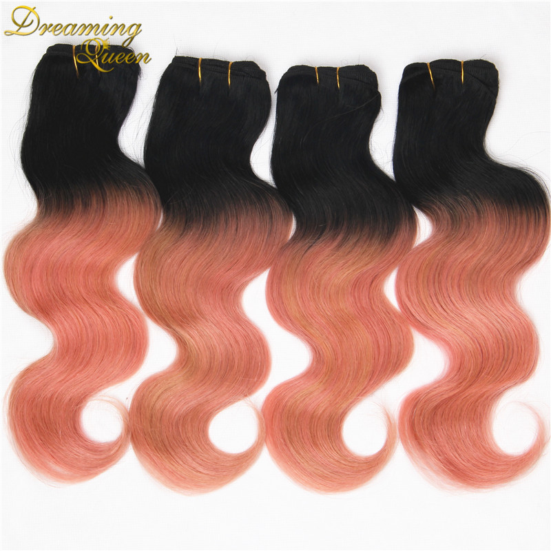 Rose Quartz Gold Ombre Peruvian Body Wave Virgin Hair Weave Bundles 4 pcs 7A Pink Gold