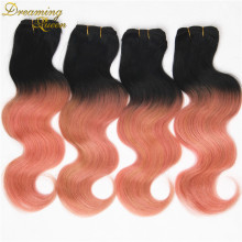 Rose Quartz Gold Ombre Peruvian Body Wave Virgin Hair Weave Bundles,4 pcs 7A Pink Gold Peruvian Ombre Human Hair Extensions