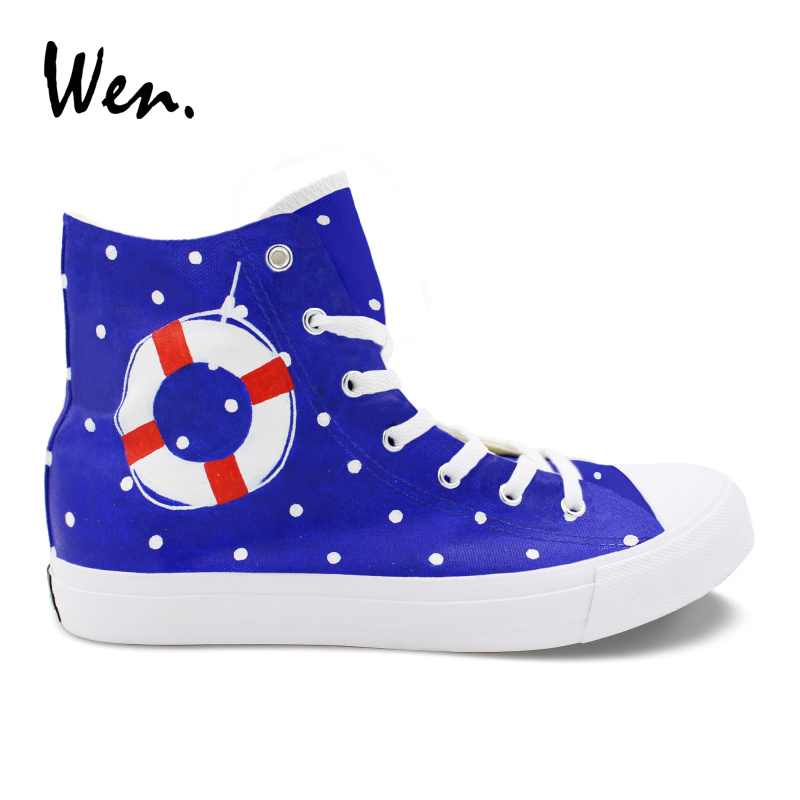 Wen Design Custom Sailing Boat Wave Point Hand Painted Original Shoes Men Canvas Shoes Women Sneakers High Top Plimsolls red original converse all star men women shoes zombies walking dead custom design sneakers hand painted shoes man woman