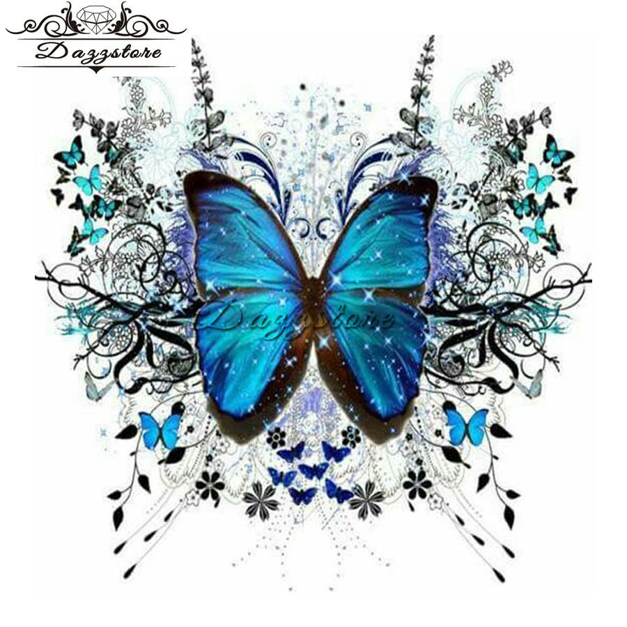 Diamond painting cross stitch diamond embroidery full square mosaic paintings blue butterfly christmas decoration gift