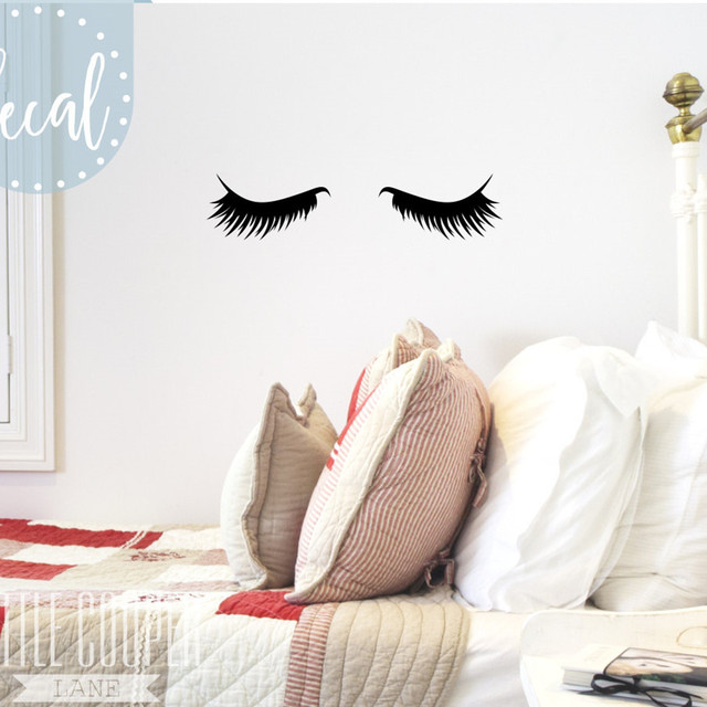 Sleepy Eyes Vinyl Wall Decal Sticker Closed Eyes Kids Decor Eyelashes Baby  Boys Or Girls Nursery