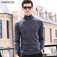 AIRGRACIAS Brand Autumn Winter Fashion Casual Wool Sweater Coat Men Warm Knitting Clothes Solid Color Sweater