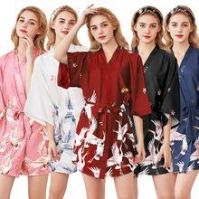 Silk Satin Womens Summer Mini Kimono Robe Lady Rayon Bath Gown Yukata Nightgown Sleepwear Sleepshirts Pijama Mujer Size M-XXL