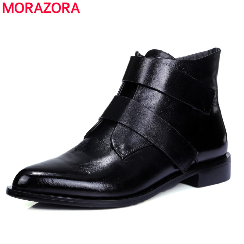 ФОТО 2015 fashion high quality genuine leather ankle boots low heel pointed toe shoes autumn winter solid women boots