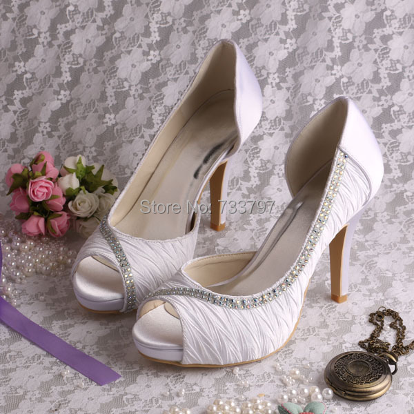 ФОТО High Quality 4inch High Heel Shoes Wedding Bridal Platform Open Toe Womens Pumps
