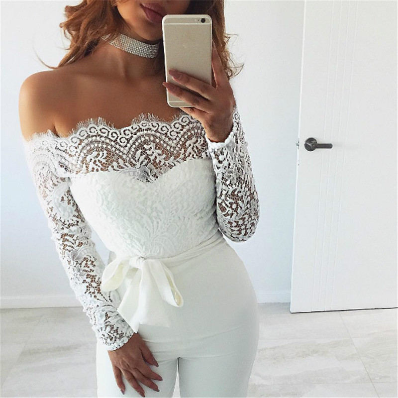 Elegant Off shoulder Lace Rompers Womens Summer Jumpsuit Sexy Ladies Casual Long Trousers Overalls White Jumpsuits 2018 ...
