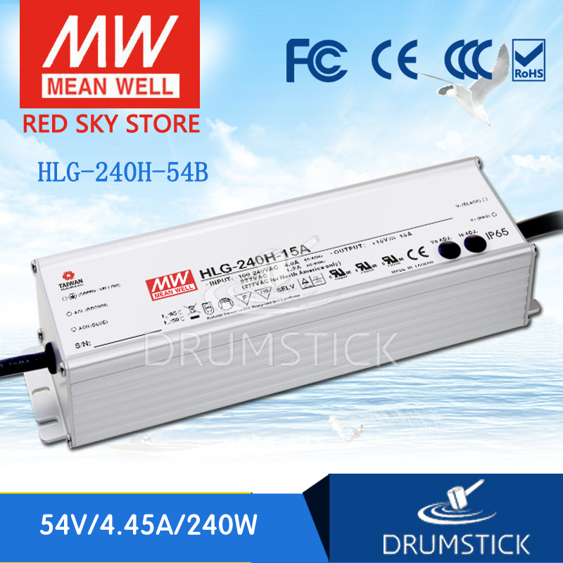 Hot sale MEAN WELL original HLG-240H-54B 54V 4.45A meanwell HLG-240H 54V 240.3W Single Output LED Driver Power Supply B type [powernex] mean well original hlg 40h 54a 54v 0 75a meanwell hlg 40h 54v 40 5w single output led driver power supply a type