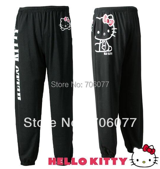 80f449da0 Free shipping Hello Kitty women Pants &100% cotton Black Hello Kitty  women's leisure pants