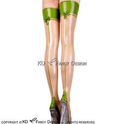 Transparente con Apple Green Trim Sexy medias largas de látex con arcos en la espalda de goma muslo medias altas WZ-0033