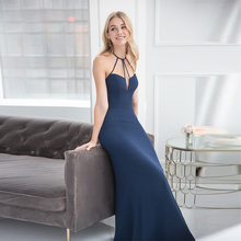 Verngo Light Blue Soft Stain Bridesmaid Dresses Backless Dress Simple Elegant Halter Vestido Madrinha