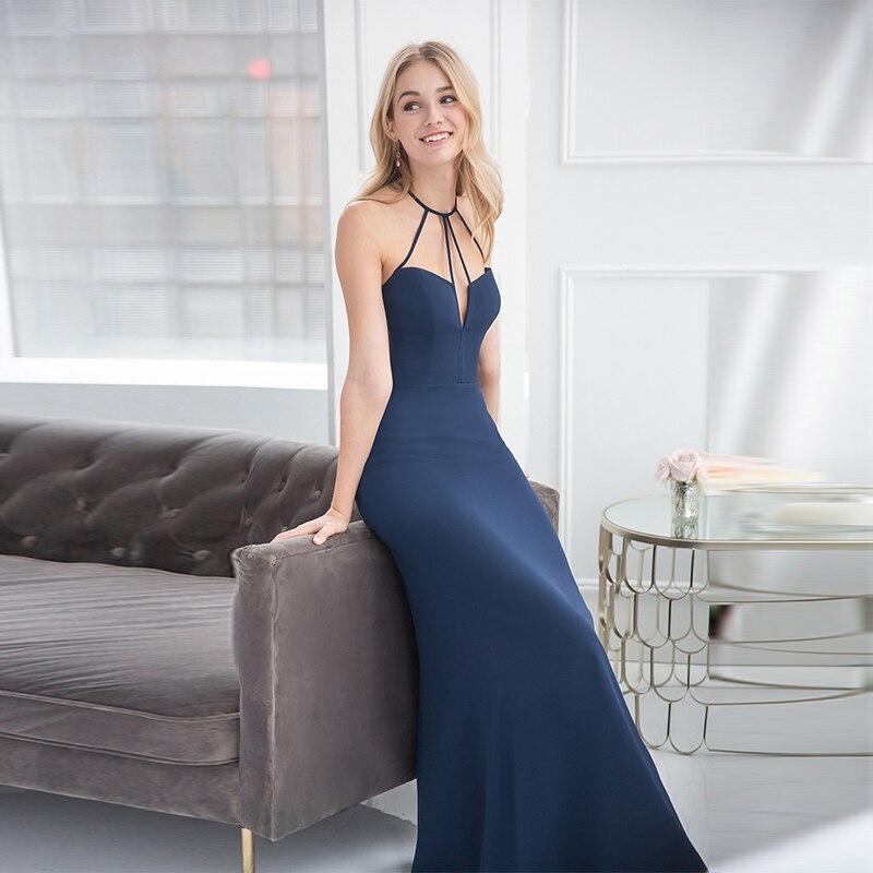 Verngo bleu clair doux tache robes de demoiselle d'honneur dos nu robe de demoiselle d'honneur Simple élégant licou Vestido Madrinha