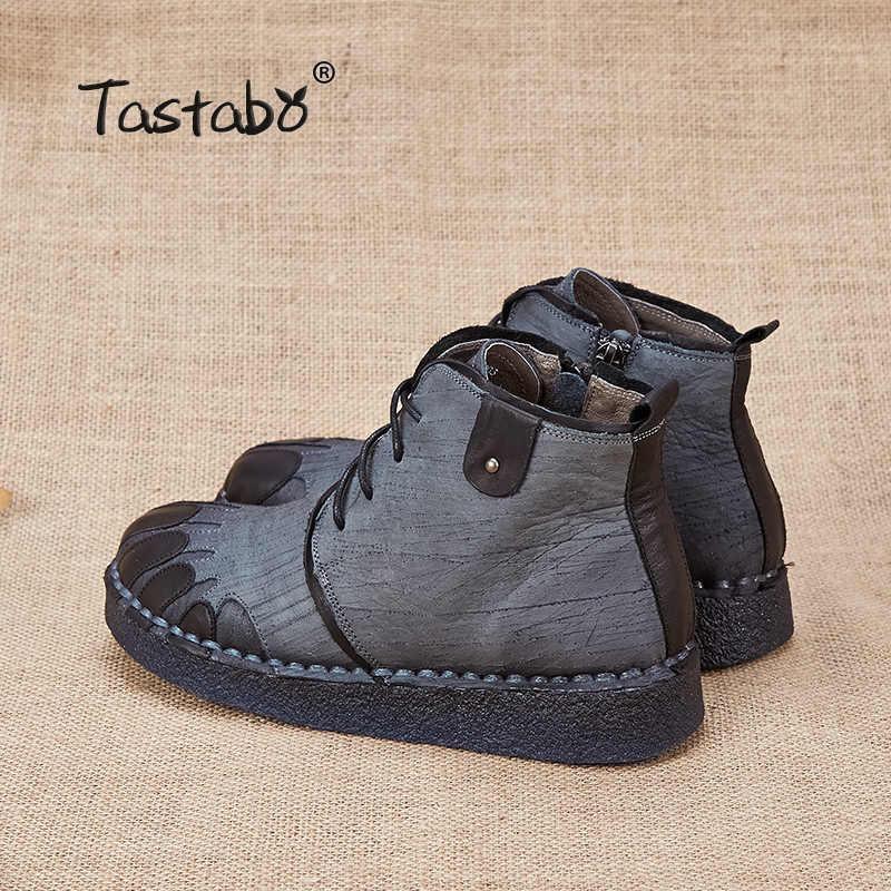 Tastabo hakiki deri kadın botları 2017 yeni bahar sonbahar moda yarım çizmeler rahat yumuşak açık rahat düz ayakkabı