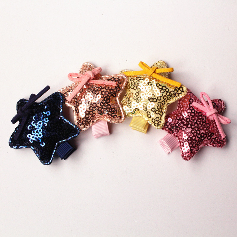 20pcs/lot Five Points Cute Hair Clips Lovely Kids Hairpin Shinning Round Sequin Felt Girls Barrettes Star Hair Grip Bowknot julia peters tang pivot points five decisions every successful leader must make