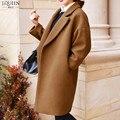 32% Lana de Invierno Abrigo de Las Mujeres Capa Larga Floja Femenina de Lana y mezclas cazadora brand clothing 2016 nueva moda gris negro marrón