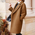 32% Wool Winter Coat Women Loose Long Coat Female Wool & Blends Trench Coats Brand Clothing 2016 New Fashion Gray Black Brown