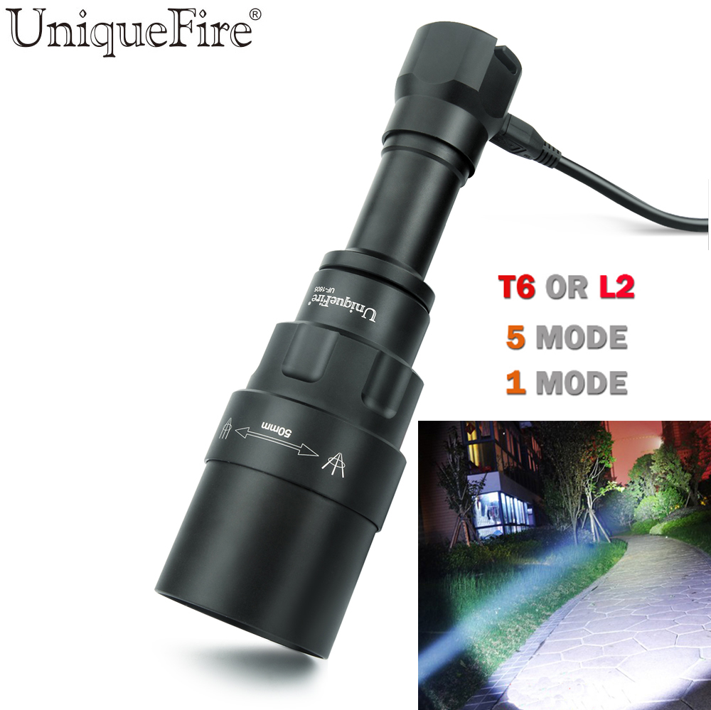 UniqueFire 1 Mode 5 Mode Led T6 L2 Tactical Flashlight Cree XML T6 XM-L2 Torch Led Waterproof FlashLight For Camping,Hunting wholesale 5 pcs ultra bright 5 mode cree xml t6 zoomable led flashlight waterproof torch lights