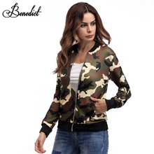Benedict Women Camouflage Bomber Jacket Female Zipper Basic Baseball Coat Casual Streetwear Outerwear Army Green Bomber Jacket