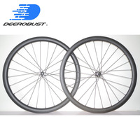 1143g 700C 38mm x25mm Asymmetric Carbon Tubular CX Bike Wheelset Road Disc Brake Bicycle Wheels Novatec D411CB D412CB Hubs XDR