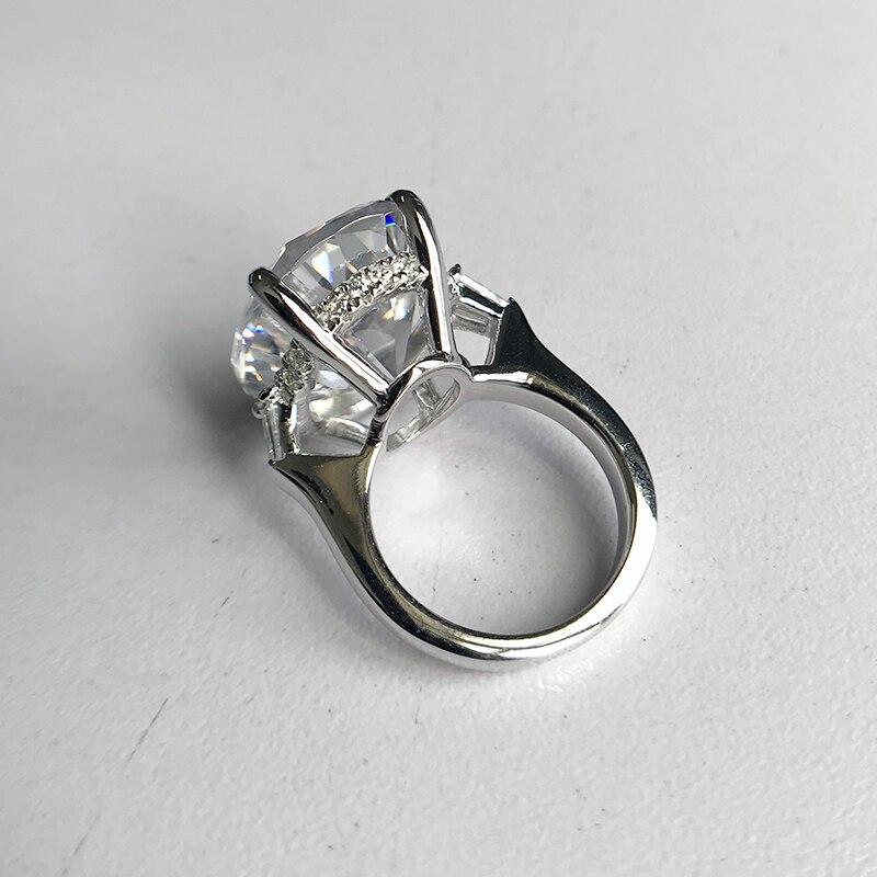 LESF 925 argent Sterling 8.3 ct ovale taille unique pierre étincelante SONA diamant pour les femmes bagues de mariage bijoux de fiançailles - 3