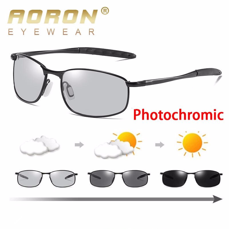 2db1240522 AORON 2018 New Polarized Change Color Photochromic Sunglasses Men Chameleon Glasses  Men Driver Goggles Fishing Sunglasses