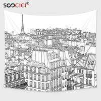 Cutom Tapestry Wall Hanging Paris Architecture Theme Design Illustration Of Roofs In Paris And Eiffel Tower