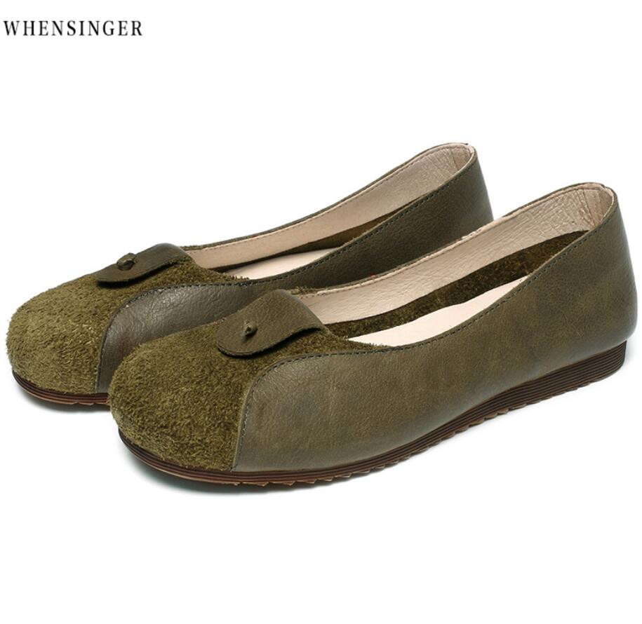 Whensinger - Women Flat Shoes loafers Genuine   Leather   green   Suede   Splice Casual Flats Shoe