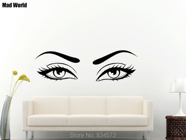 Mad World Sexy Eyes Wow Modern Beauty Salon Valentine Wall Art Stickers Wall  Decal Home