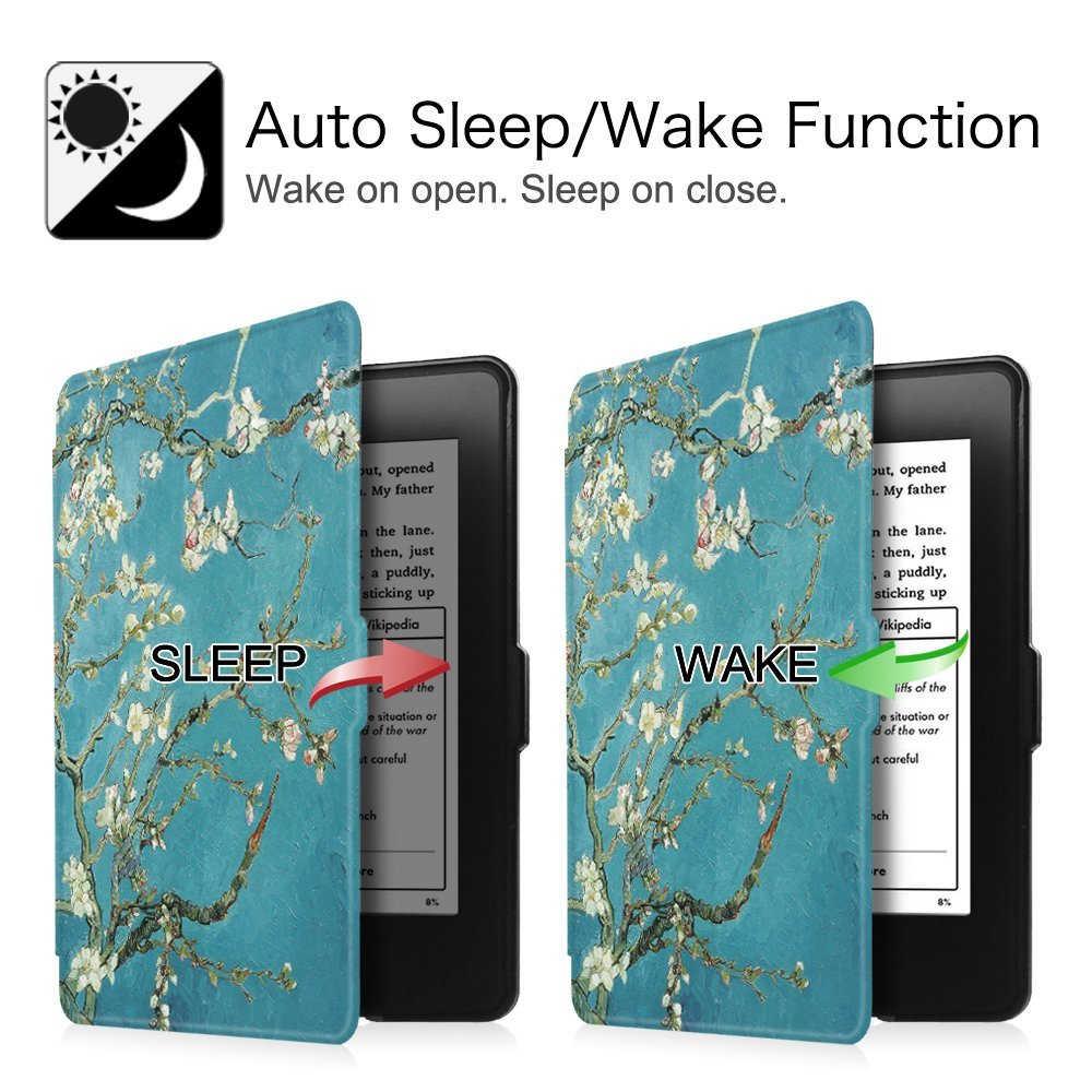 الجلود اللوحي جراب تغطية ذكي لأمازون أوقد Paperwhite 1/2/3 اللوحة 6 بوصة الوجه مع وظيفة الاستيقاظ التلقائي/النوم