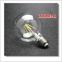Dimmable non baissable G125 Big mondial ampoule 4 W / 6 W / 8 W filament LED ampoule E27 effacer verre Edison éclairage intérieur lampe 110 V 240 V