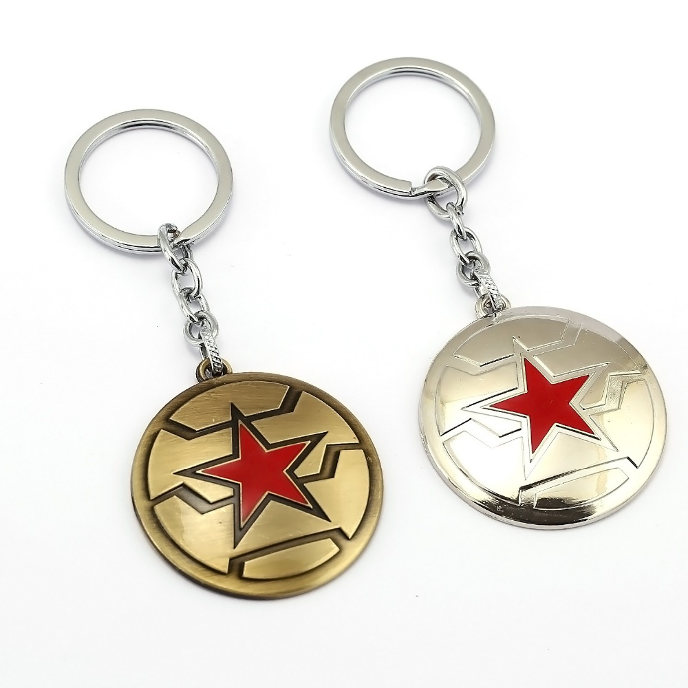 Captain America Keychain Enamel Bronze Sliver Shield Superhero Key Ring Men Gift Chaveiro llaveros key Chain Accessory Trinket