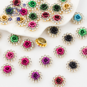 Image 3 - Golden Bottom Crystal Rhinestone With Claw Mix Color Flower Sew On Rhinestones Bridal Glass Stones for Clothes Decoration S136
