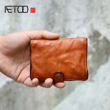 AETOO Male short leather vertical youth Head cow Leather card bag soft handmade vintage wallet