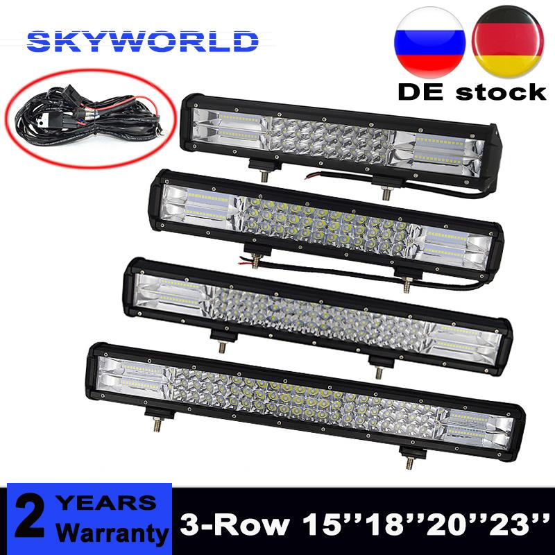 High Power Tri-Row LED Bar Offroad Combo Beam 15 18 20 23'' Led Work Light Bar for Truck Car SUV ATV 4x4 4WD 12v 24V