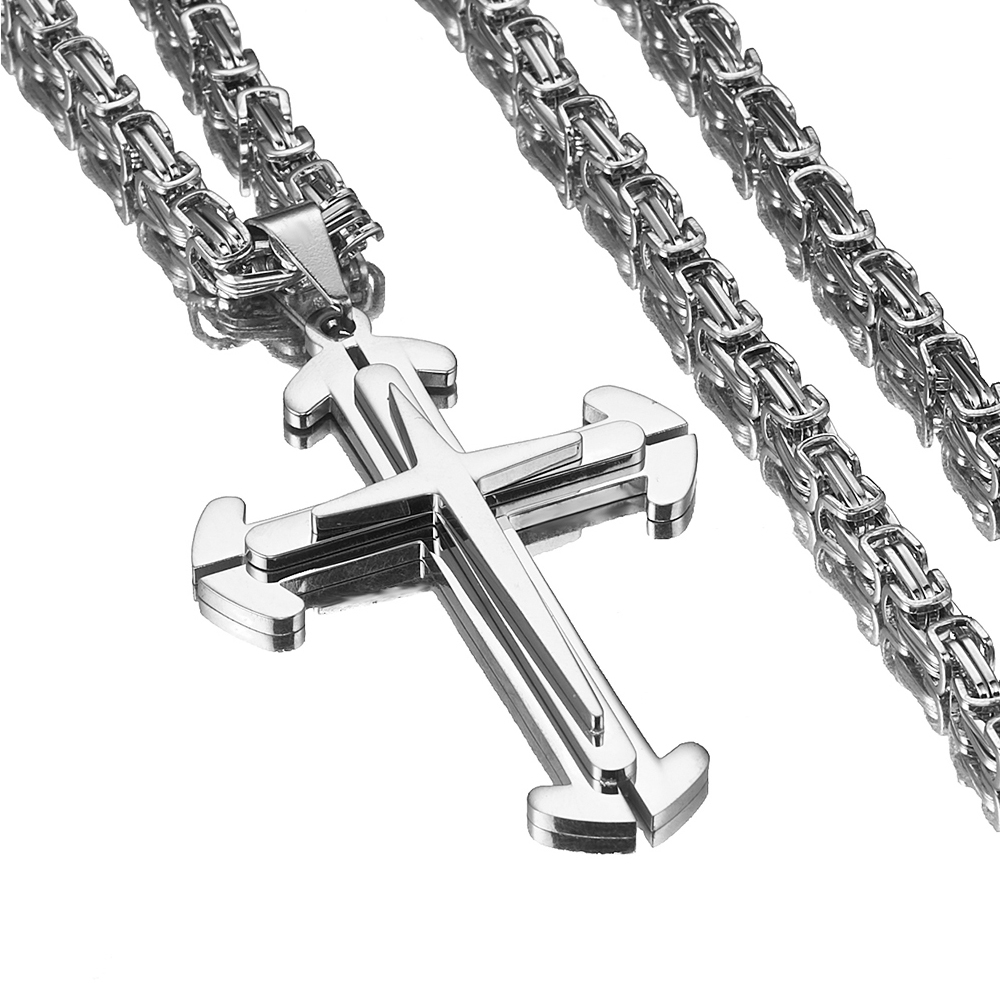 Fitness Hipper Stainless Steel Silver Tone Christian Jesus Cross Pendant With 5mm Byzantine Chain Necklace Men's Boy's Jewelry