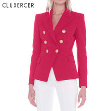 2018 New Autumn Office Lady Double Breasted Rose Red Blazer Women Coat Elegant Long Sleeve Slim Suit Blazer Feminino Inverno blazer feminino stripe slim fit women long sleeve spring autumn office lady blazer mujer 2019 women outwear hjj801930