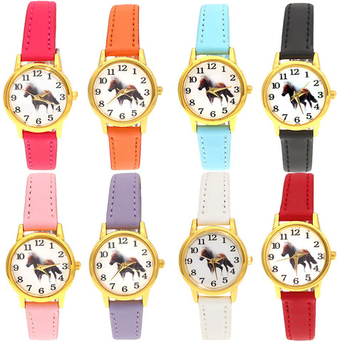 Hot Popular Cute Girl Ladies Watch Kids Watches Horse Leather Quartz Student Kids Animal Cartoon Children Wristwatch 10 Colors Pakistan