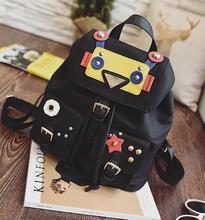 Оксфорд рюкзак мультфильм робот женщина заклепки смешанные цвета ранцы mochilas для подростка девочек большой емкости женщины дорожные сумки