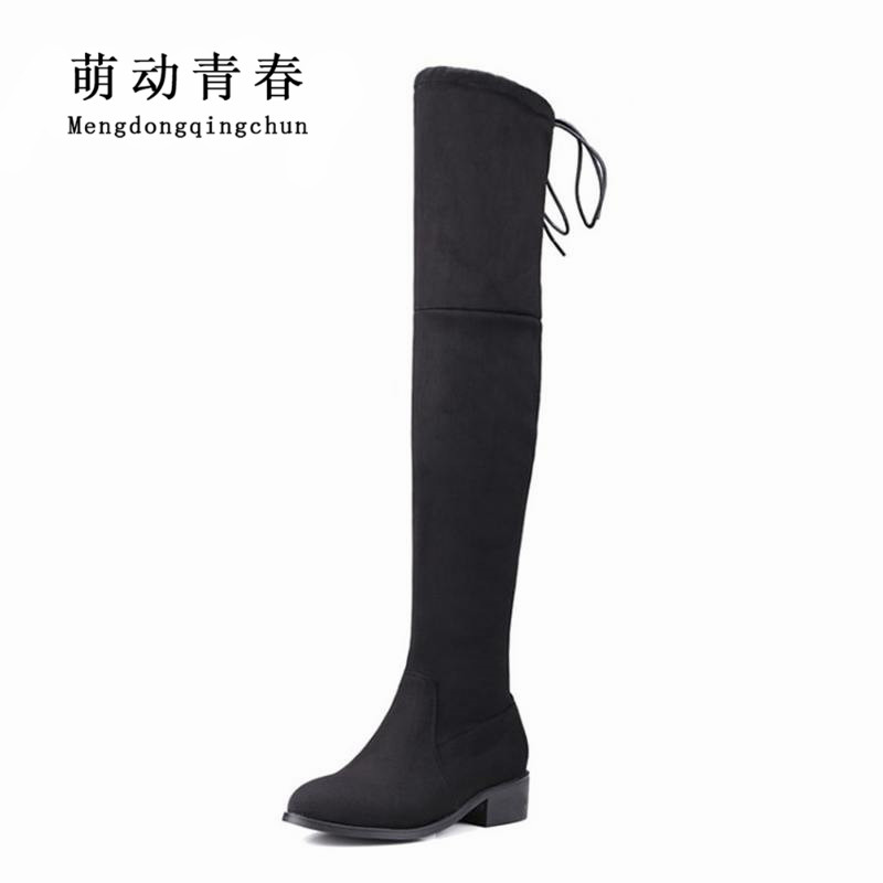 2017 New Plus Size Women Over The Knee Boots Thigh High Boots Ladies Fashion Warm Chunky Heel Boots Snow Shoes enmayer over the knee boots shoes new pu knitting square heel high boots warm snow long boots red brown black knight boots