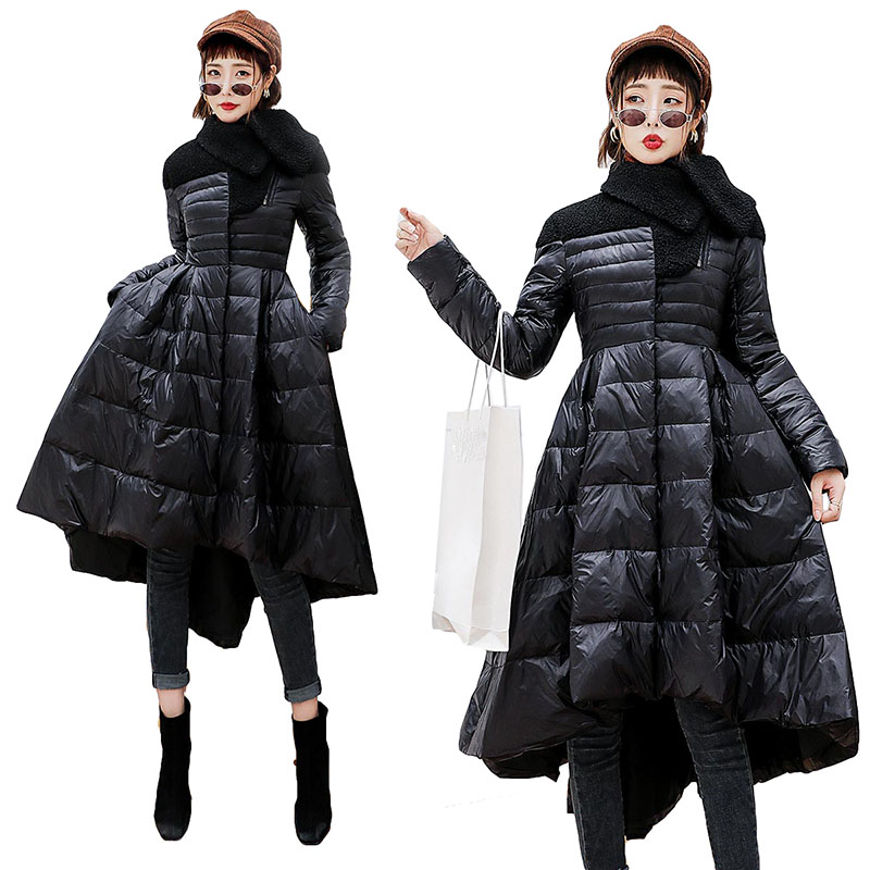 Winter Product Fashion   Down   Jacket Women Loose   Coat   Big Swing Hem Long Type Tide Parka   Coat   Temperament Woman White/black Jacket