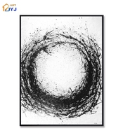 Black White Color Picture Wall Art Hand Painted Modern Abstract Oil Painting For Living Room Home