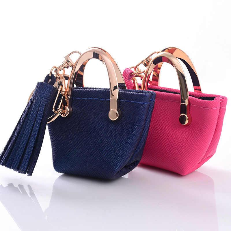 صغيرة حقيبة المفاتيح البسيطة محفظة نسائية للعملات المعدنية رمادي الوردي الأزرق الأحمر الديكور سلسلة مفاتيح بو الجلود حقيبة تخزين قلادة مجوهرات الأزياء