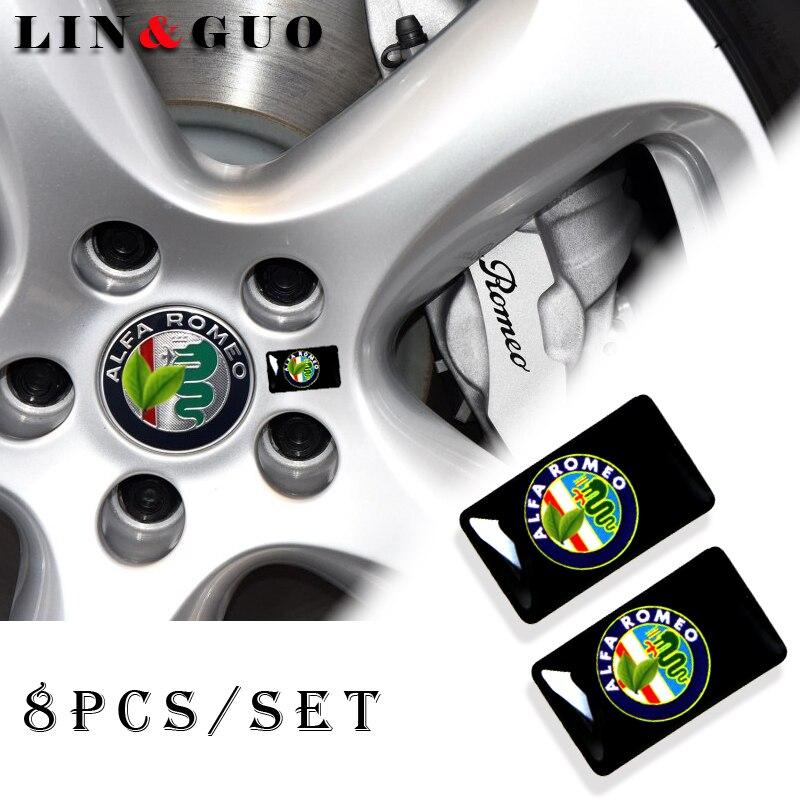 8pcs Car Styling Steering Wheel 3D Small Emblem Sticker