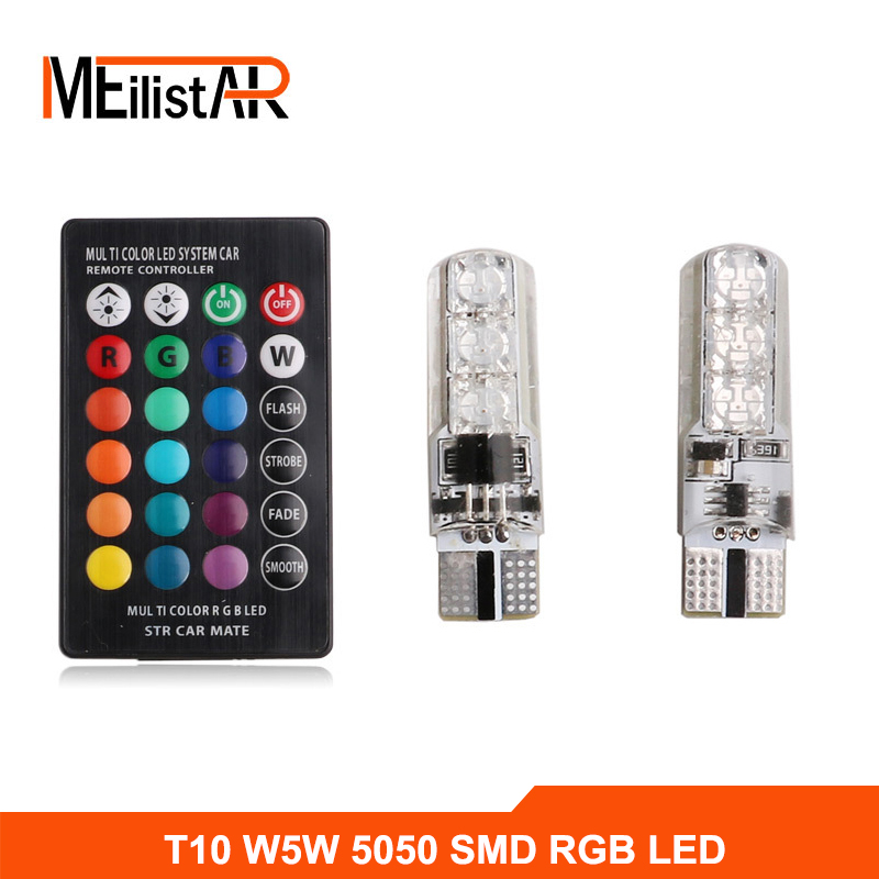2PCS 5050 SMD RGB T10 194 168 W5W Car Reading Wedge Light Lamp Multi Color RGB LED Bulb With Remote Controller Flash/Strobe 2x t10 w5w 168 194 smd 6 led 5050 remote control rgb car reading wedge lights for car tail light side parking door lighting
