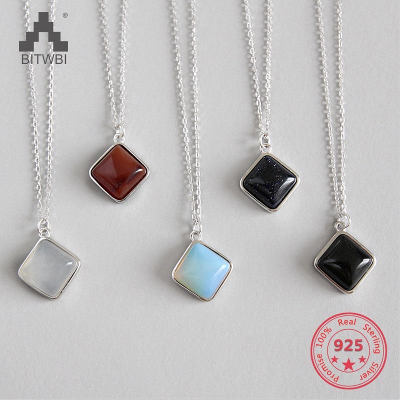 100% S925 Sterling Silber Geometrische Platz Opal Rot Stein Achat Blau Sandstein Anhänger Halskette