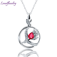 Solid 14K White Gold Genunie Ruby Gemstone Pendant Necklace Diamond Enegagement Jewelry for Daughter Birthday Gift