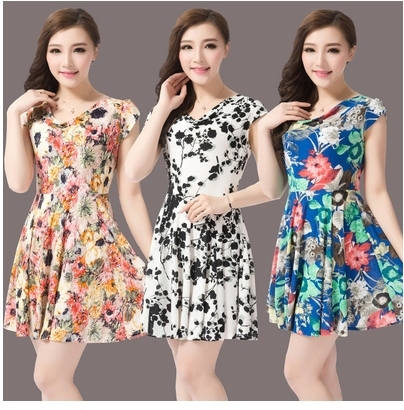 470541fae76 35-40-45-50 year-old middle-aged mother dress code installed in older women  short-sleeved floral dress summer dress