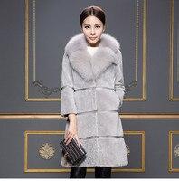 Для женщин зимние натуральной овчины длинное пальто теплая короткая овечья шерсть куртка с подлинной лиса меховой воротник карман плюс Раз